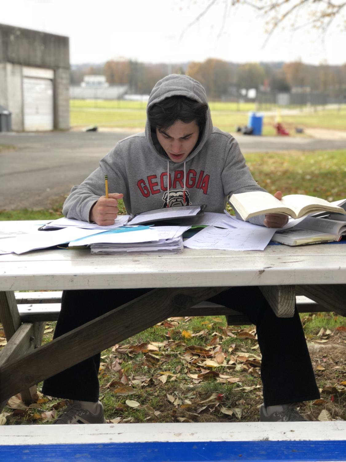 Student Colin Kuzia showing his frustration with the workload as midterms slowly creep up.