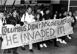 Students stand up against Columbus Day.