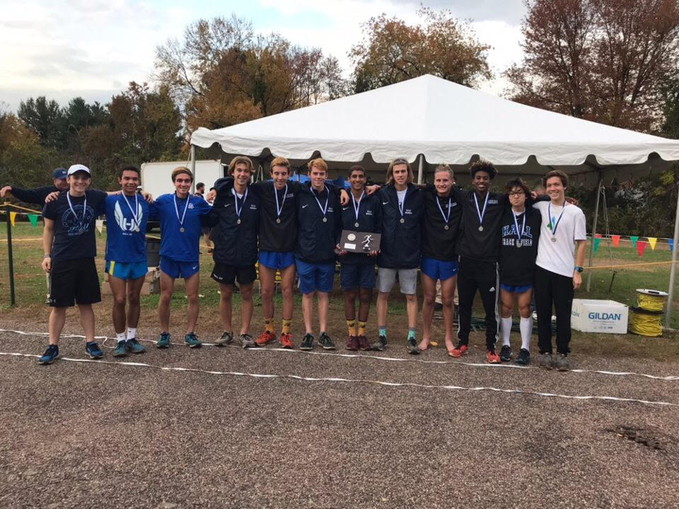 Hall Boys Cross Country after getting 2nd place at State Opens. Josh Fernandes, the 5th man, was the hero of the race. Hall's coach Jeff Billing commented that