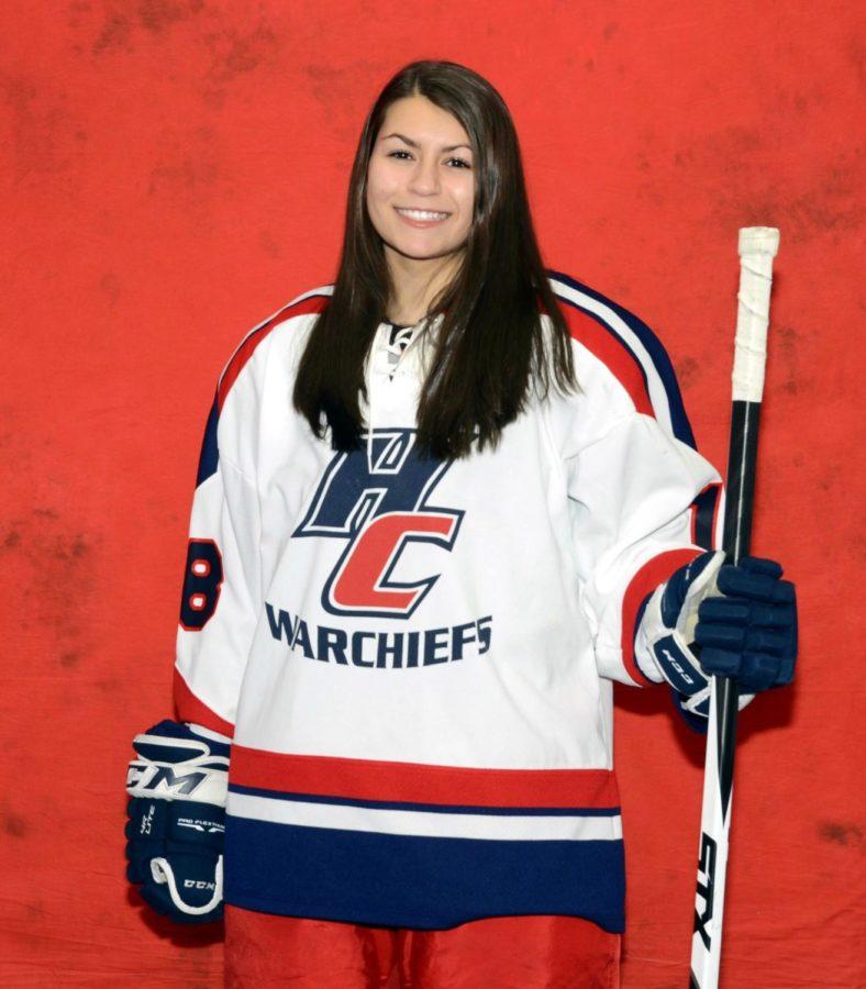 Nikki Herz, left wing on the Hall-Conard girls hockey team.