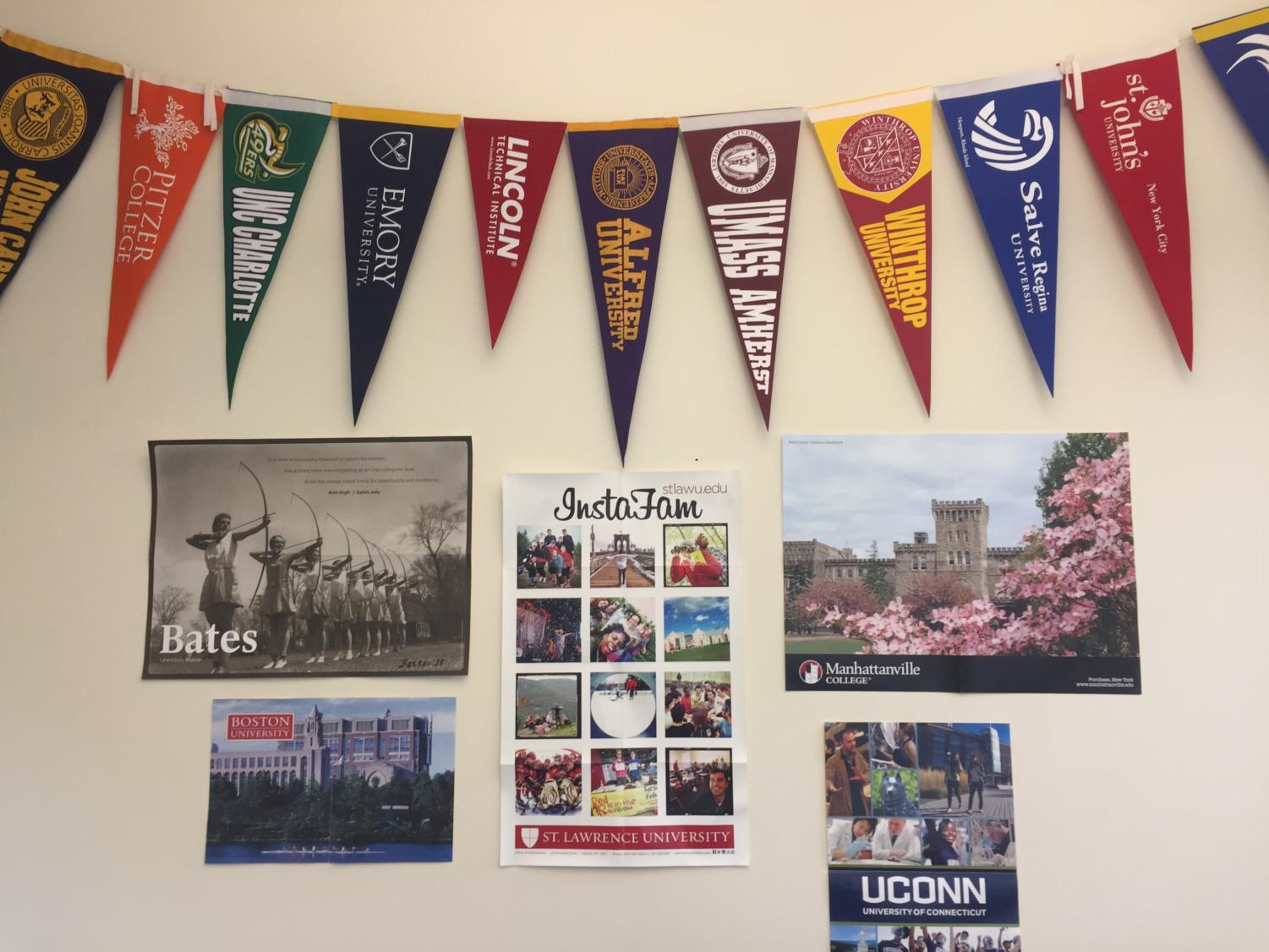 College Posters and Flags decorating and adding some color to the Career Center walls.