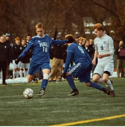 Evan playing in the state finals against Glastonbury High School