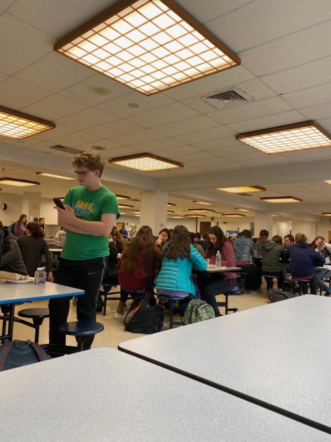 This is a photo of Hall lunchroom where students are required to be present during assigned lunch periods. Underclassmen cannot leave the lunchroom without a teacher's pass.