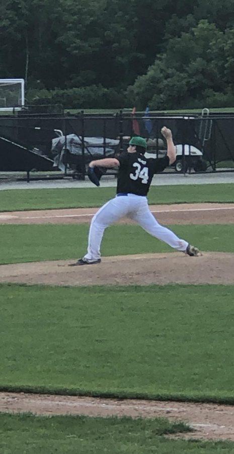 Brandon pitching at a summer baseball tournament