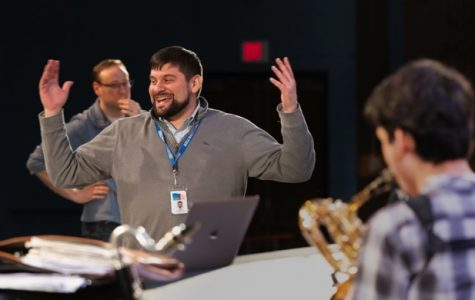"""Photo by Steve McDonald, studio441.com  """"James Antonucci enjoying himself conduct the Hall High Concert Jazz Band as they get ready to put on the production of Pops n' Jazz"""""""