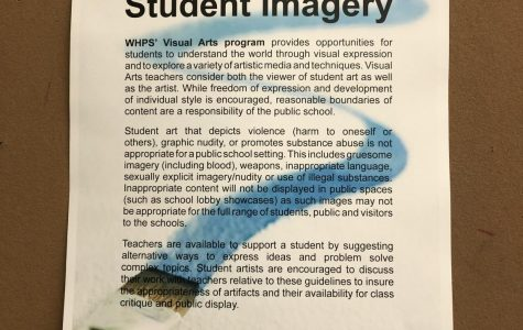 The painting room's poster on the censorship rules.