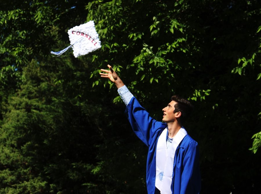 Jonah+Gershon%2C+a+senior+headed+to+Cornell+University+this+fall%2C+throwing+his+graduation+cap+%28Picture+Courtesy+of+Jonah+Gershon%29.+