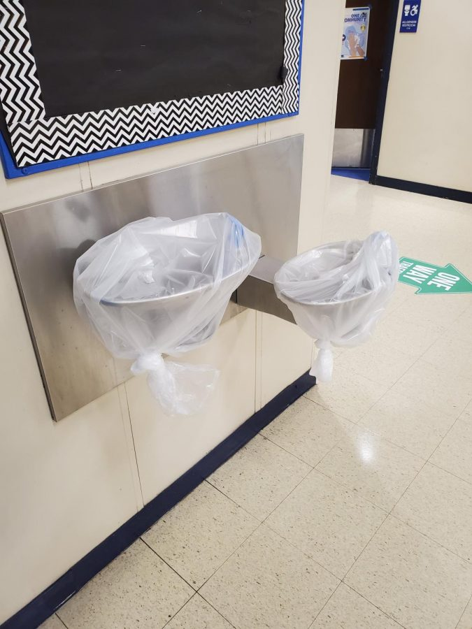 Water fountains covered and affected because of COVID