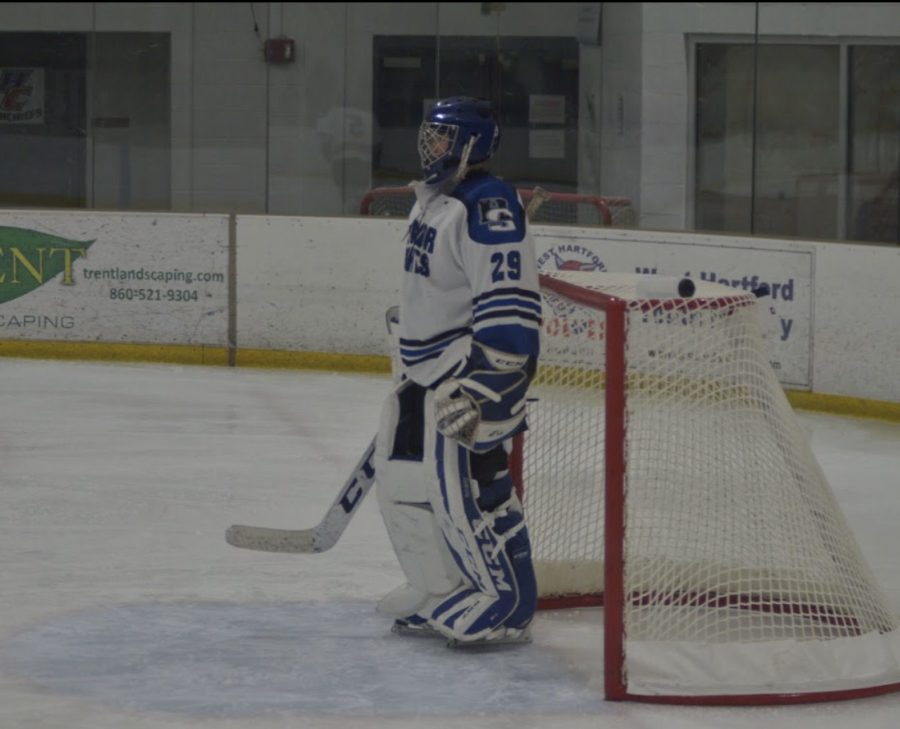 Photo taken at a Hall/Southington High School hockey game.