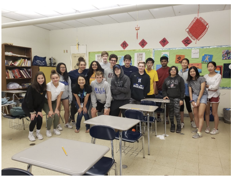 Chinese Teacher, Chen Lao Shi with her happy and packed 2018-2019 Chinese I Class.