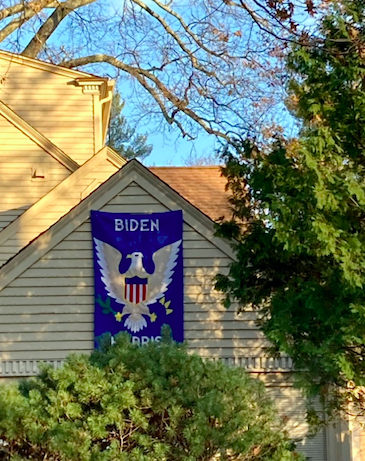 A Biden 2020 support flag on a West Hartford resident's house.