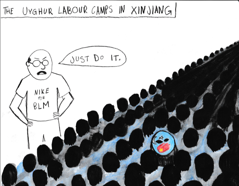 An editorial cartoon about the Uyghur Muslim re-education camps in China.