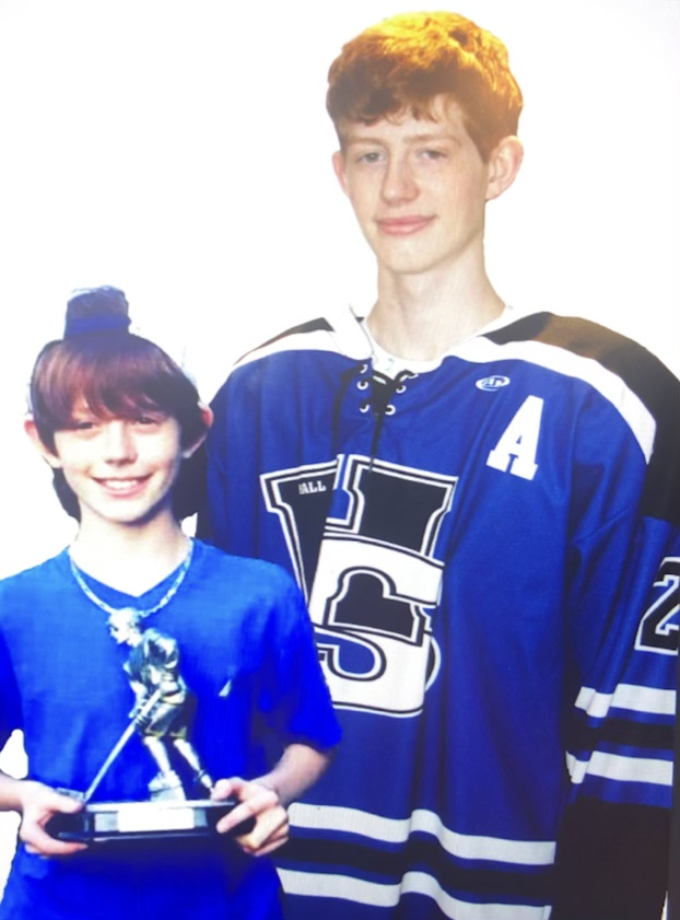 Pictured James L, goes from young to old in his senior year with the Hall Southington hockey team