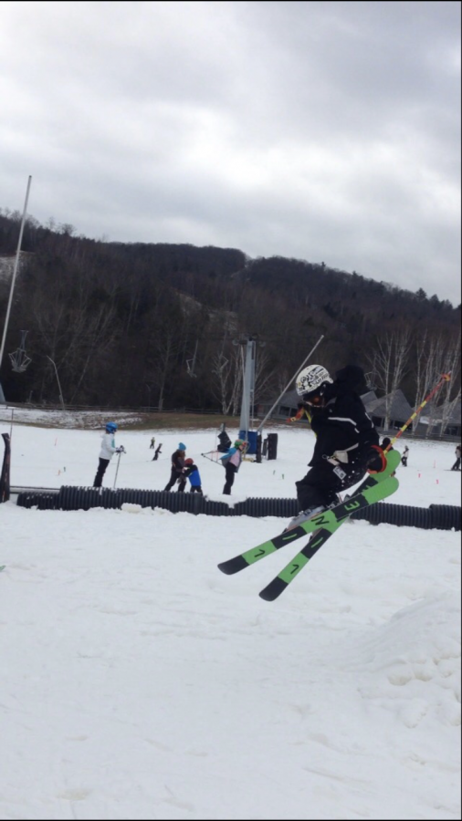 """Shea Hull, A local """"park rat"""" soars through the air in the """"twisted terrain park"""" at Ski Butternut located in Great Barrington, Massachusetts."""