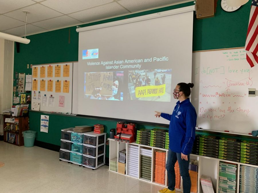 Kelly Fransen, a teacher at Hall, teaches a community lesson on Violence Against the AAPI community, planned during the month of March following the rise of Anti-Asian violence.