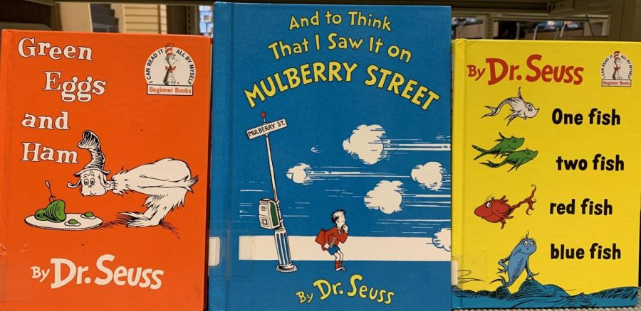 Some of the Hall library's Dr. Seuss books, including the newly discontinued