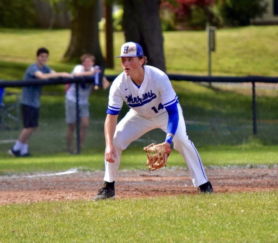 Joe Dooley playing in a baseball game at Hall High School.
