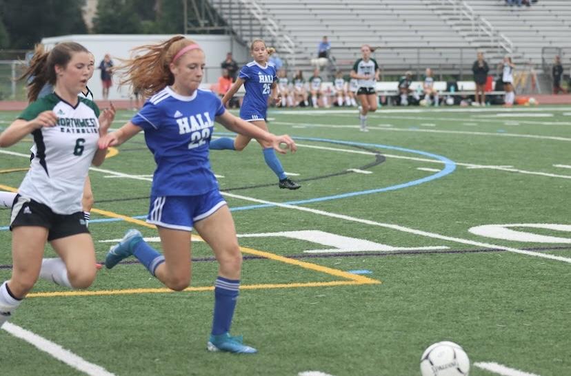 Farrah playing soccer